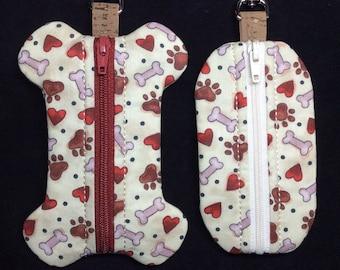 In the Hoop Waste Bag Dispensers - Dog Bone and Rectangle shape - Poop Bag Holder - Zipper Case - Machine Embroidery Design File - MollyMade
