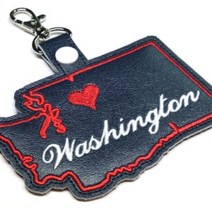 Alaska State Snap Tab Key Fob ITH Machine Embroidery Design Digital File.