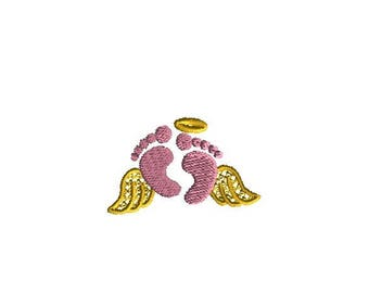 Mini Baby Feet with Wings Machine Embroidery Design-INSTANT DOWNLOAD