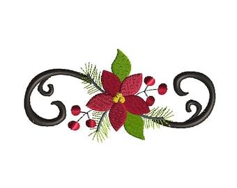 Poinsettia Flourish Machine Embroidery Design-INSTANT DOWNLOAD