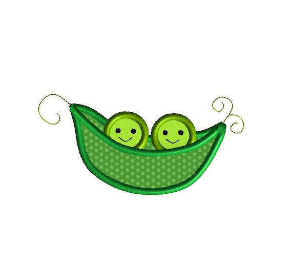 Two Peas In A Pod Applique Machine Embroidery Design Instant Etsy