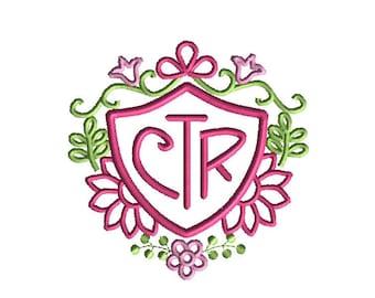 CTR Floral Applique Machine Embroidery Design-INSTANT DOWNLOAD-3 sizes