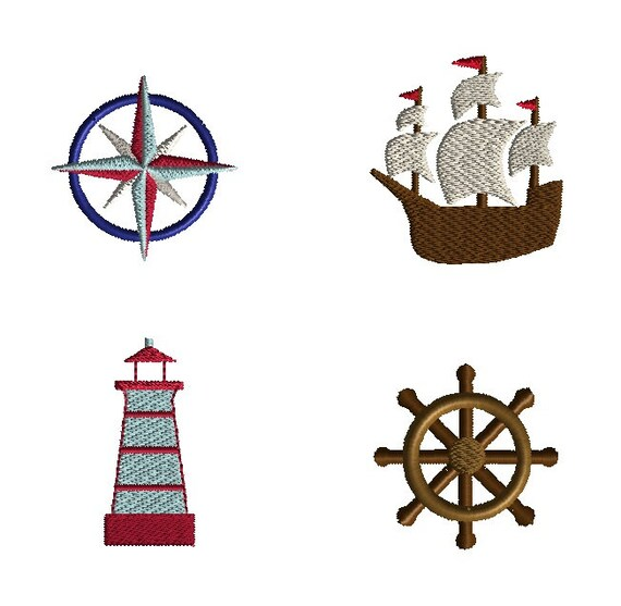 set #2 Nautical machine embroidery quilt designs done in the embroidery machine