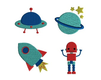Mini Outer Space Machine Embroidery Design Set-INSTANT DOWNLOAD