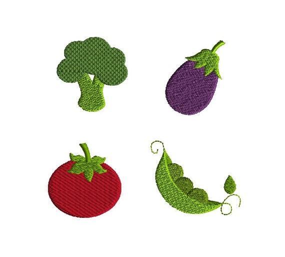 Mini Vegetables Machine Embroidery Design Set Instant Download Etsy