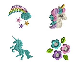 Mini Unicorn Machine Embroidery Design Set-INSTANT DOWNLOAD