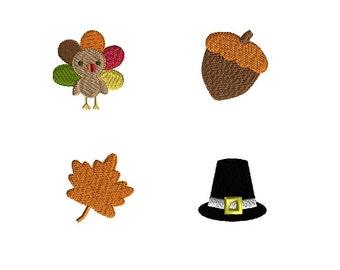 Mini Thanksgiving Machine Embroidery Designs(pilgrim hat, turkey, acorn, fall leaf)-INSTANT DOWNLOAD
