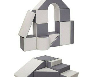 Step and Slide with Castle Block set, Home Soft Play Bundle, 15pcs Soft Play Set