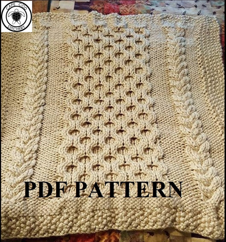 a292ef3ff Knit Baby Blanket Pattern Knitting Pattern Cable Knit Aran