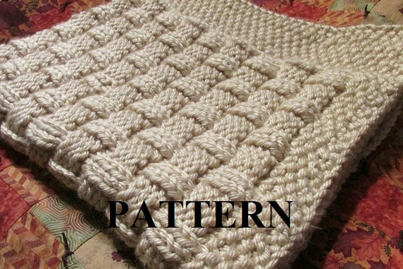 Knitting Pattern Blanket Knitting Pattern Basket Weave Etsy