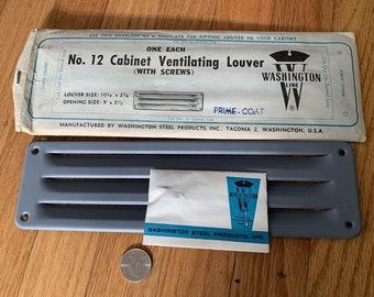 Vintage retro NIB never used kitchen cabinet vent ventilating louver grille prime coat metal