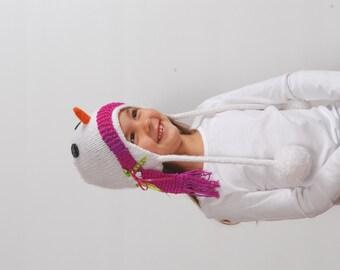 Snowman Earflap Hat, Snowman Hat, Snowman Hat with Earflaps