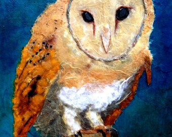 """Print Barn Owl """"Watch Over Me"""" Beautiful Giclee vibrantly colored Art Prints Hand Embellished light Texturing Chigiri-e Torn Paper Art"""