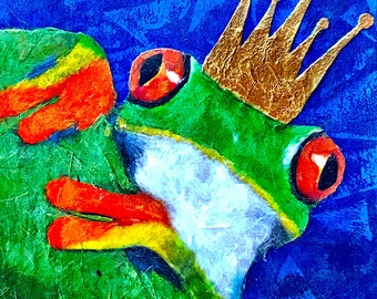 Frog Prince Collectible Giclee Mini Block Print 4x4 Square Torn Paper Art by Robin Panzer Small Gift Hostess Fairytale