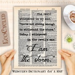 I Am The Storm, I Whispered in the Devils Ear, Girl Power on Vintage Upcycled Dictionary Art Print Best Friend Literary Gifts wall art decor