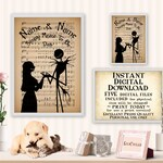 Customized printable Nightmare Before Christmas wedding gift, anniversary gift Jack Skellington & Sally digital download wall art decor