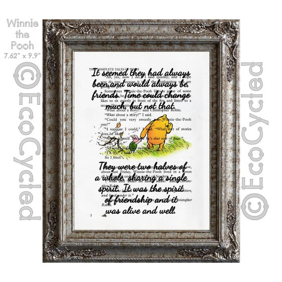 Winnie the Pooh and Piglet Quote 29 Spirit of Friendship Always Friends on  Vintage Upcycled Dictionary Art Print Book Art Print Classic Pooh