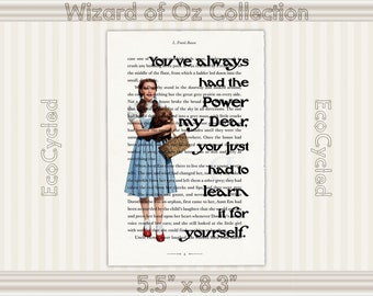 You've Always Had the Power Quote, Dorothy Glinda Good Witch Wizard of Oz Vintage Upcycled Dictionary Art Print Book Lover Gift Girl Power