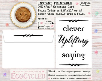 Printable Funny Greeting Card - Clever Uplifting Saying - For Awkward People, Instant Digital Download, Humor Satire Meta Quote