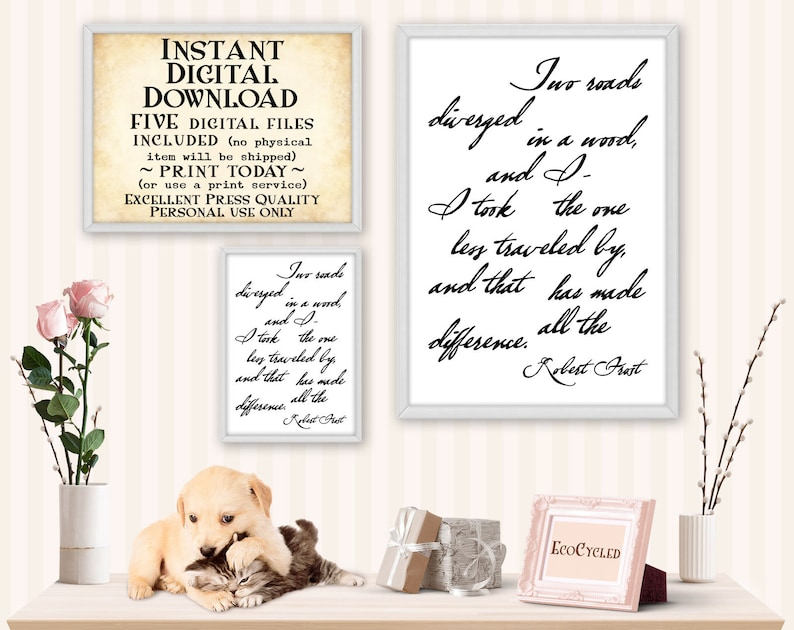 Two Roads Diverged in a Wood Printable Robert Frost Poem image 0