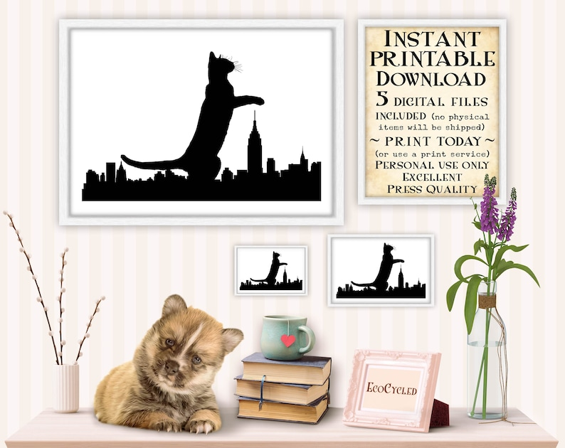 Catzilla in City Cat as Godzilla printable cat lover gift image 0