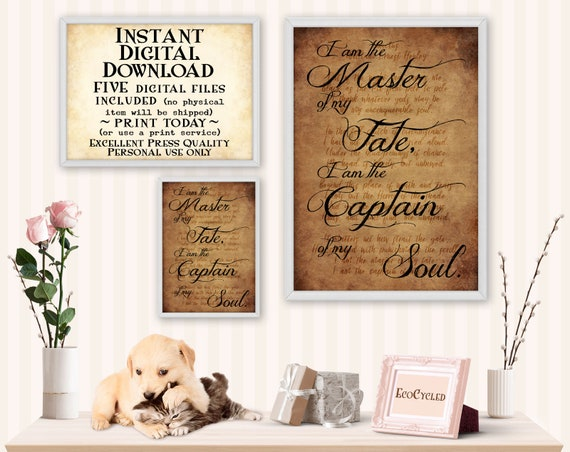Master Of My Fate Captain Of My Soul Printable Wall Art Decor Invictus Poem Inspirational Best Friend Gift Instant Digital Download