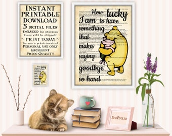 Classic Winnie the Pooh Piglet, How Lucky I Am Saying Goodbye is So Hard printable best friend gift, friendship, farewell wall art decor