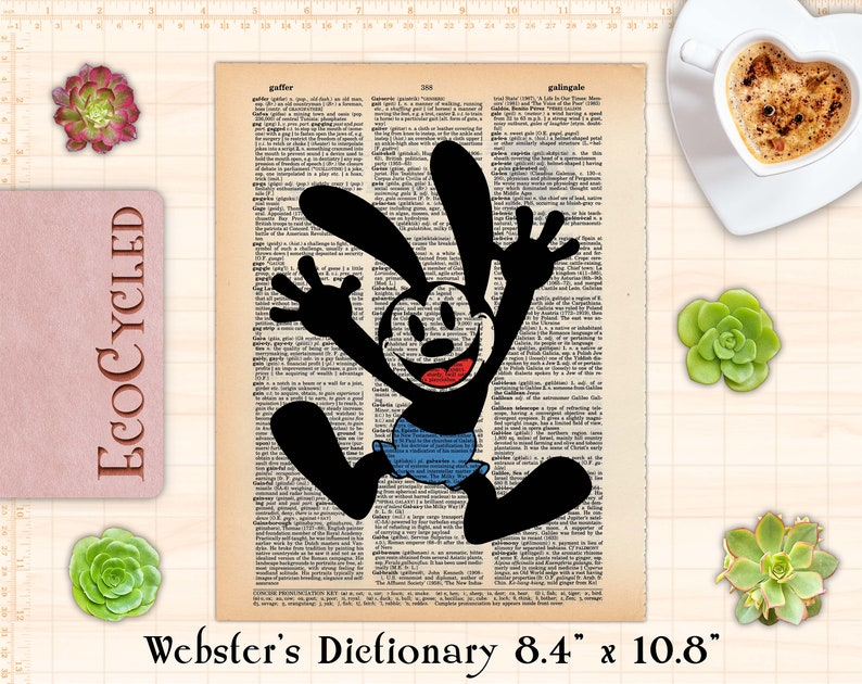 "Classic Oswald the Lucky Rabbit Disney Vintage Upcycled Webster 8.4""x10.8"""
