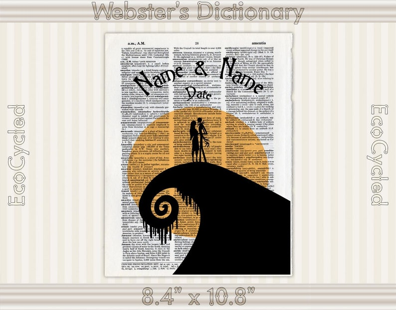Personalized Name Date Wedding Gift Dictionary Art Print Custom Anniversary Gift