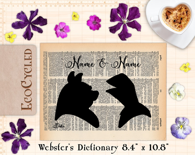 """Miss Piggy and Kermit the Frog Customized Silhouettes Webster 8.4""""x10.8"""""""