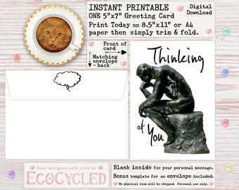 Thinking of You Printable Greeting Card with The Thinker by Rodan, an Instant Digital Download 5x7 or A4 greeting card you can print today