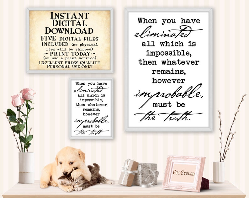 Eliminate Impossible Remains Truth Sherlock Holmes printable image 0