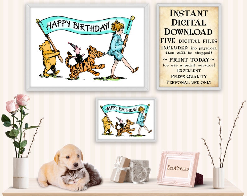 Winnie the Pooh Birthday & Piglet Tigger Christopher Robin image 0