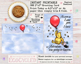 Winnie the Pooh & Piglet Adventure with You Greeting Card for all occasions, a Digital 5x7 or A4 Download card you can print and give today