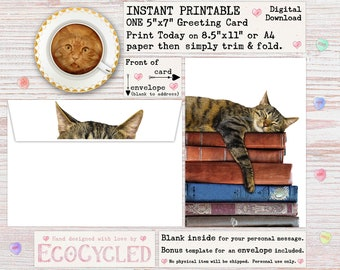 Instant Printable - Cat Napping on Old Books Greeting Card for all occasions, a Digital 5x7 or A4 Download card you can print and give today
