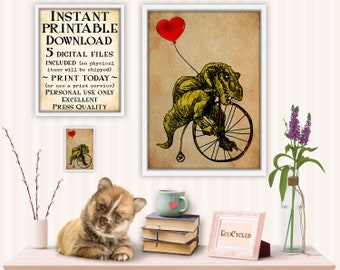 Tyrannosaurus Rex Riding Velocipede Penny Farthing with Red Heart Balloon printable funny best friend gift, fun wall art decor