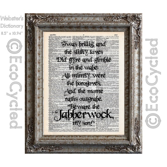 Jabberwocky Poem 1 Alice In Wonderland Quote On Vintage Upcycled Dictionary Art Print Book Art Print Recycled Word Art Typography
