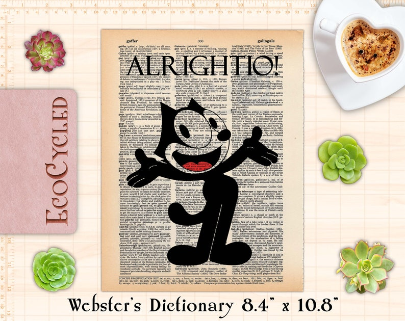 """Felix the Cat classic animation Alrightio Vintage Upcycled Webster 8.4""""x10.8"""""""