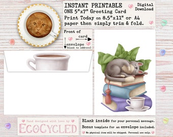 Cat on Books with Tea Greeting Card Instant Printable, for book & cat lover, a Digital 5x7 or A4 Download card you can print and give today