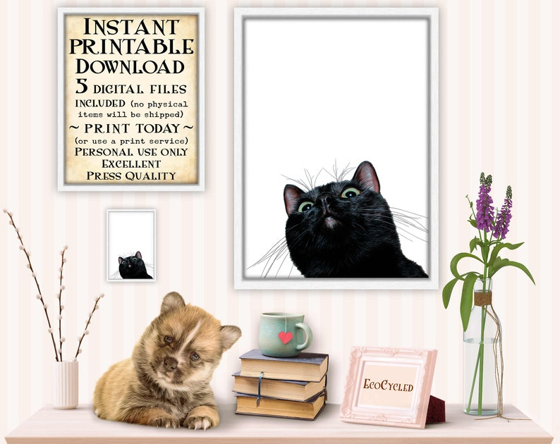 Curious Black Cat Looking Up printable best friend gift image 0