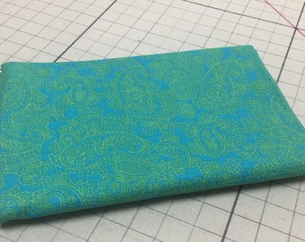 Aqua and Lime  Paisley Quilting Fabric