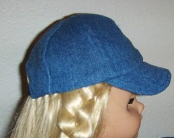 Denim   Baseball Cap  for American Girl Doll and similar  18 inch Dolls