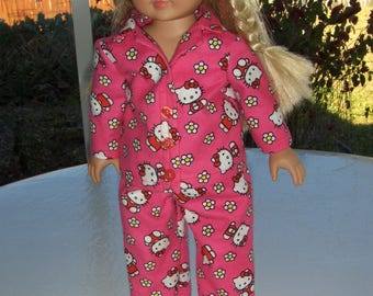 Pink Hello Kitty Pajamas fits American Girl Doll and similar  18 inch Dolls