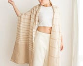 Clothing Linen shawl light cream, Large Pure linen scarf, Oversized wrap, Spring straw accessory - Ready to ship