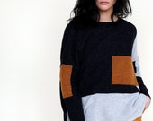 Patchwork knit merino wool sweater