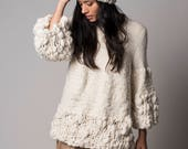 Knit Chunky Sweater, Cream clothing soft texture wrap, oversize neutral knit pullove design by Texturable