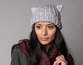 Cat Pearl Grey Chunky beanie slouch hat, Organic Winter accessories, Holidays gifts
