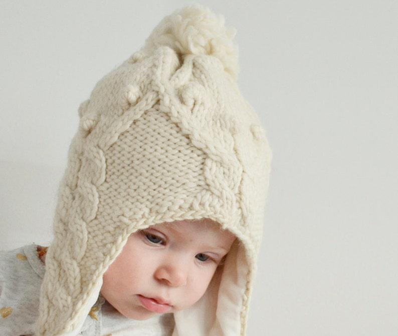 5b0e167a982 Baby Beanie hat White Knit Wool Hat Kids Pom Pom hats