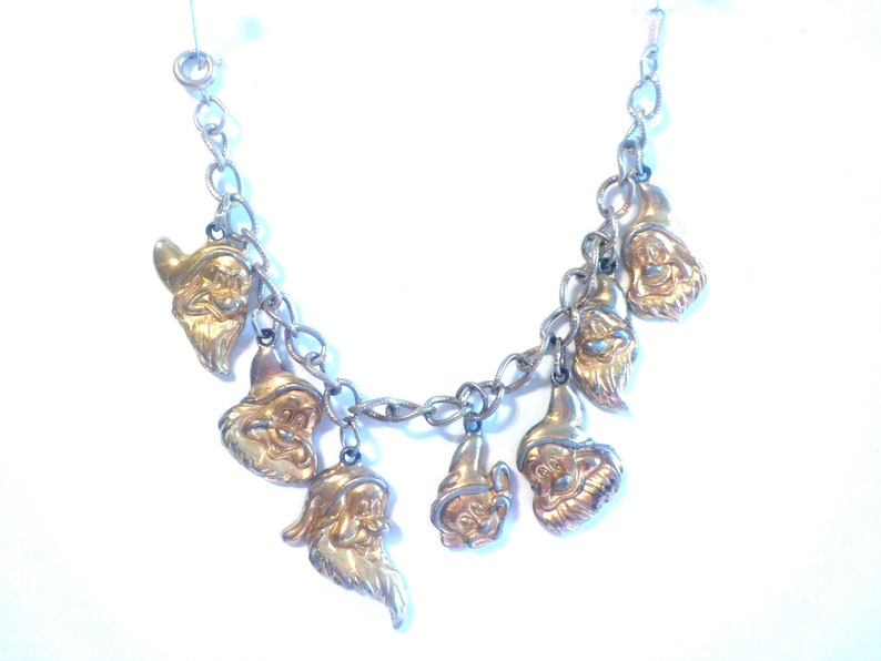 Snow white Vintage Seven Dwarfs charm bracelet shabby gold toned
