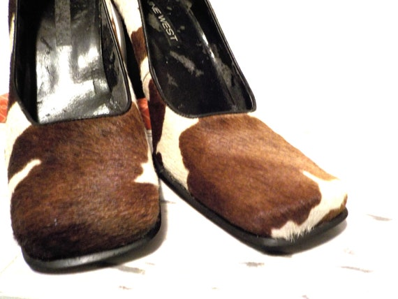 Cowhide prairie and Nine West style gypsy girl white heel brown high 8 shabby Rockabilly cowgirl size pumps rOrPxv